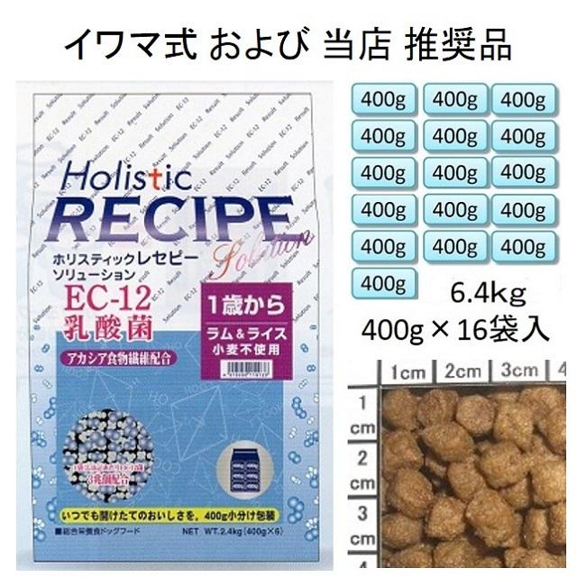 ホリスティックレセピー・EC-12乳酸菌・アカシア食物繊維配合ラム&ライス(小麦不使用)1歳から6.4kg(400g×16袋入)