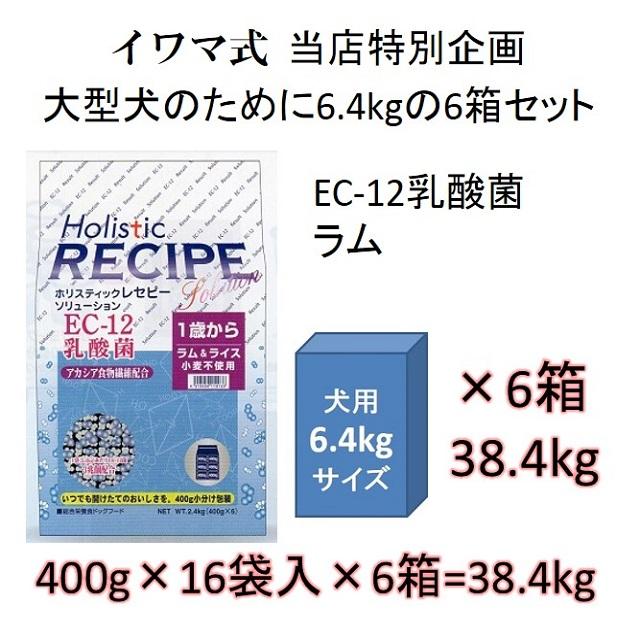 ホリスティックレセピー・EC-12乳酸菌・アカシア食物繊維配合ラム&ライス(小麦不使用)1歳から6.4kgの6箱セット = 38.4kg