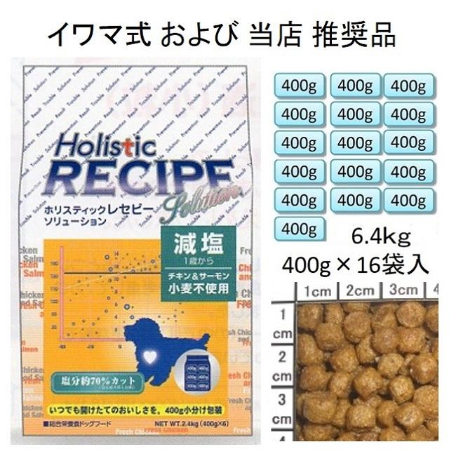 ホリスティックレセピー・減塩チキン&サーモン小粒(小麦不使用)1歳から6.4kg(400g×16袋入)