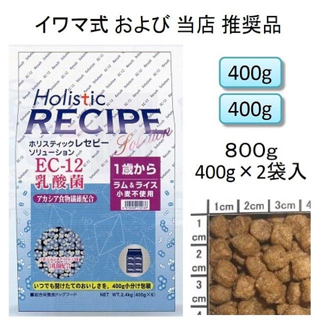 ホリスティックレセピー・EC-12乳酸菌・アカシア食物繊維配合ラム&ライス(小麦不使用)1歳から800g(400g×2袋入)