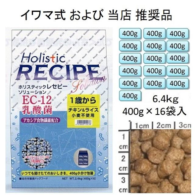 ホリスティックレセピー・EC-12乳酸菌・アカシア食物繊維配合チキン&ライス(小麦不使用)1歳から6.4kg(400g×16袋入)