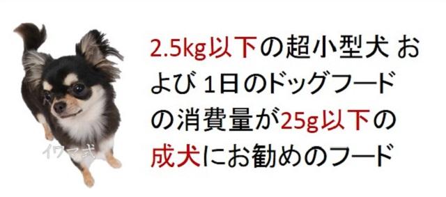 2.5kg以下の超小型犬および一日のドッグフードの消費量が25g以下の成犬におすすめのフード